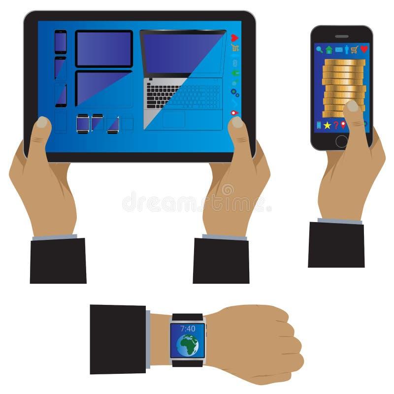 Hand met moderne gadgets vector illustratie