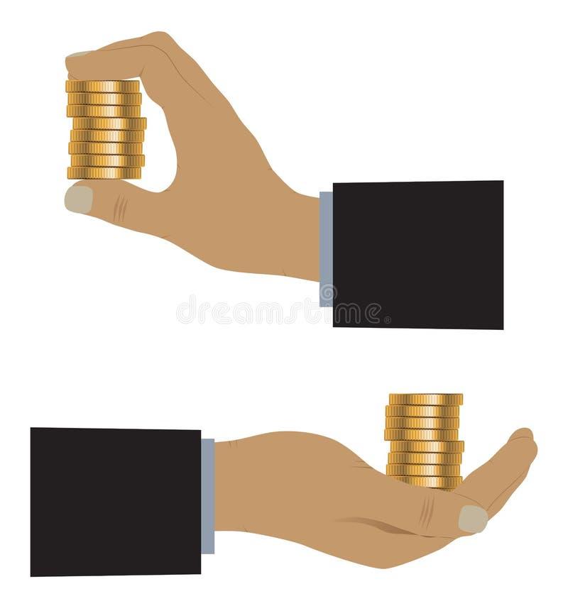 Hand met muntstukken stock illustratie