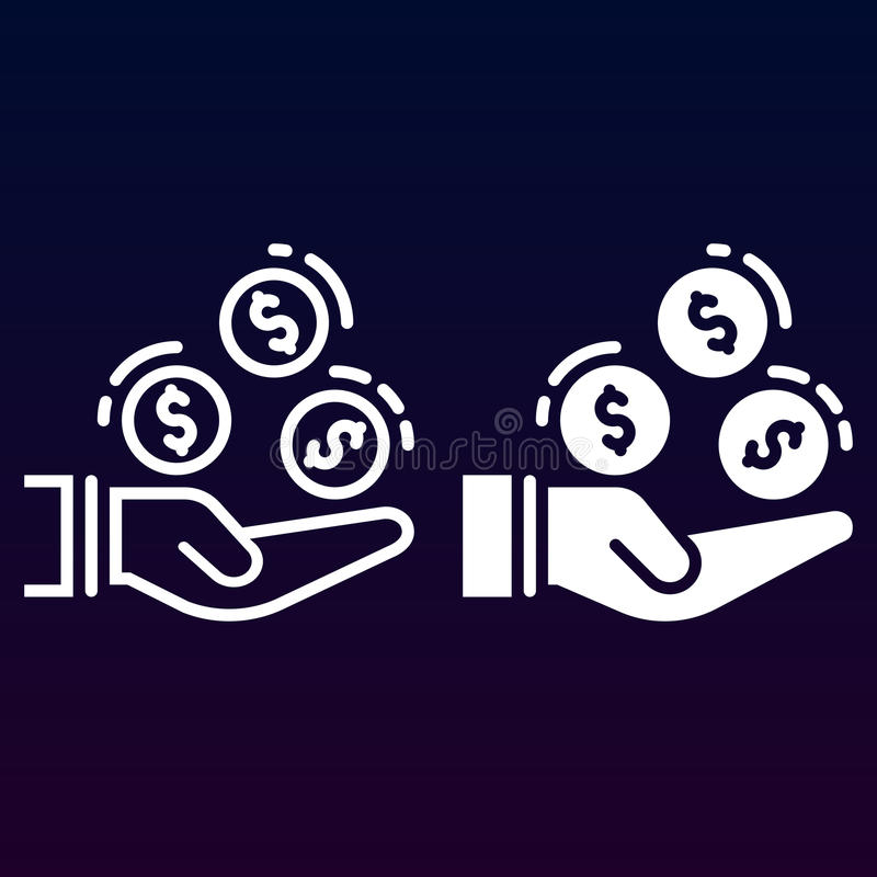 Hand met muntstukkenlijn en stevig pictogram, overzicht en gevuld vectorteken, lineair en volledig die pictogram op wit wordt geï royalty-vrije illustratie