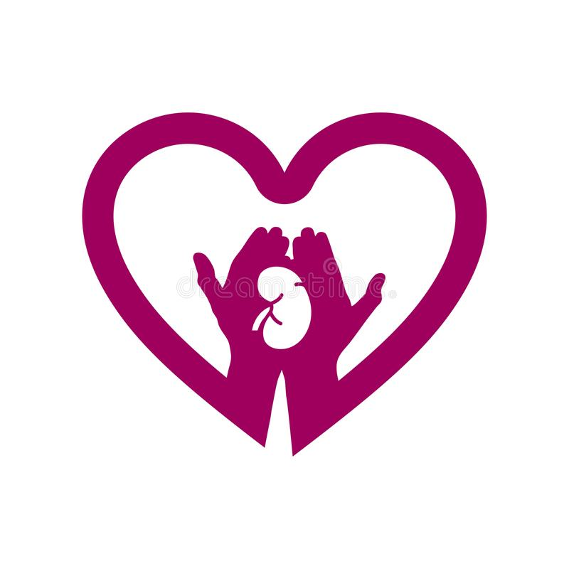 Hand met nier in het embleem van het hartpictogram Concept liefde uw nieren royalty-vrije illustratie