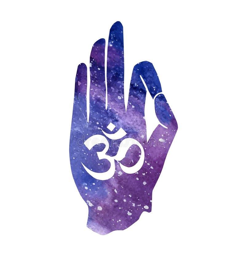 Hand met Om symbool vector illustratie