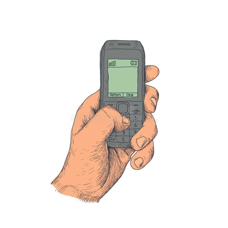 Hand met oude mobiele telefoon stock foto