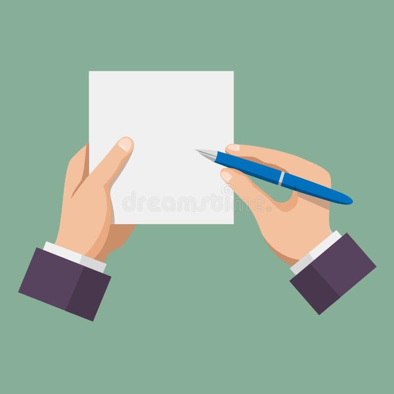 Hand met pen die op papier schrijft vector illustratie