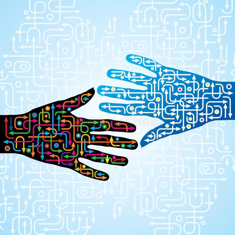 Hand met pijlenidee stock illustratie