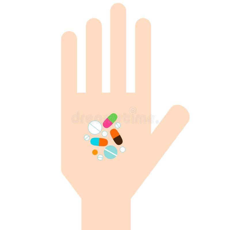 Hand met Pillen vector illustratie