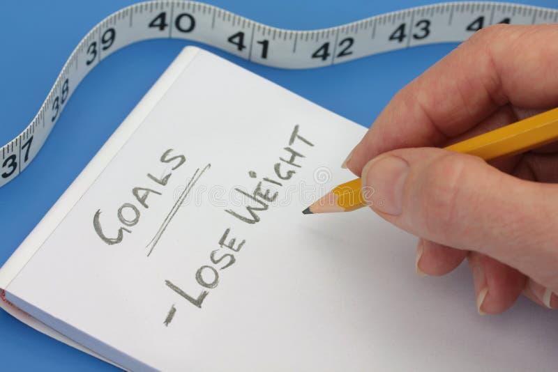 Hand met Potlood dat doelstellingen lijst maakt om gewicht te verliezen stock afbeelding