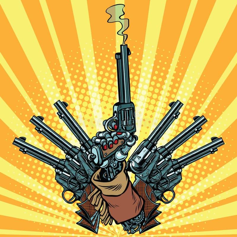 Hand met revolvers geschotene pop-artwapens vector illustratie