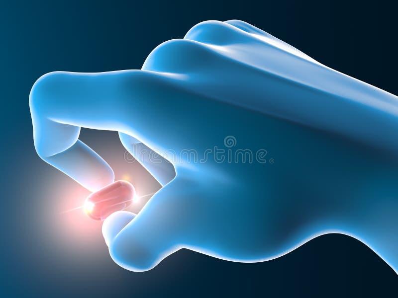 Hand met rode pil, tablet royalty-vrije illustratie