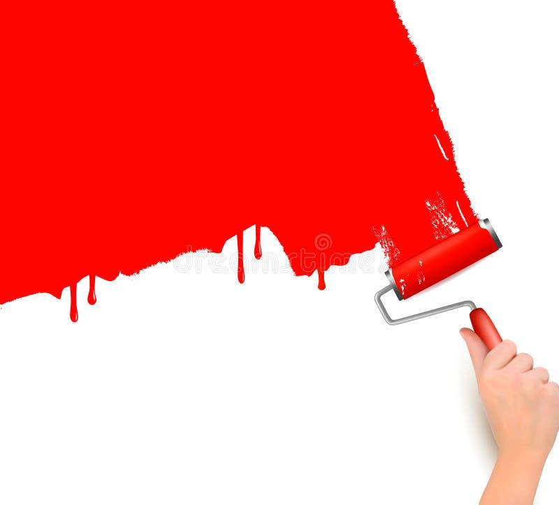 Hand met rode rol die de witte muur schildert vector illustratie