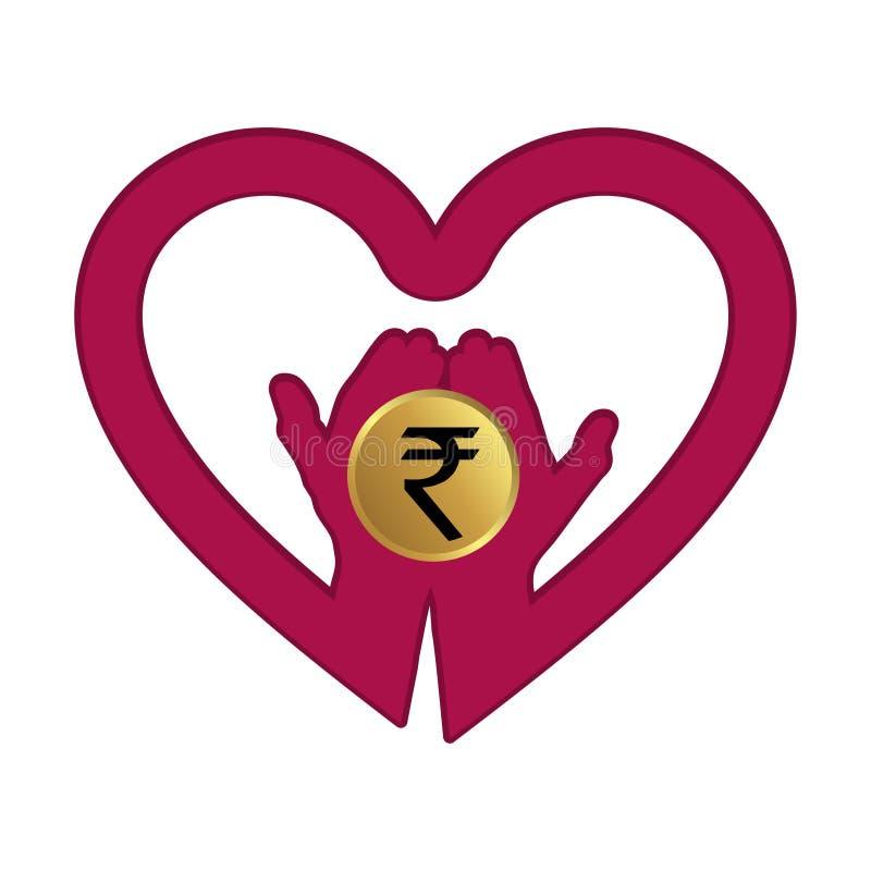 Hand met Roepie in het embleem van het hartpictogram Concept liefderoepie royalty-vrije illustratie