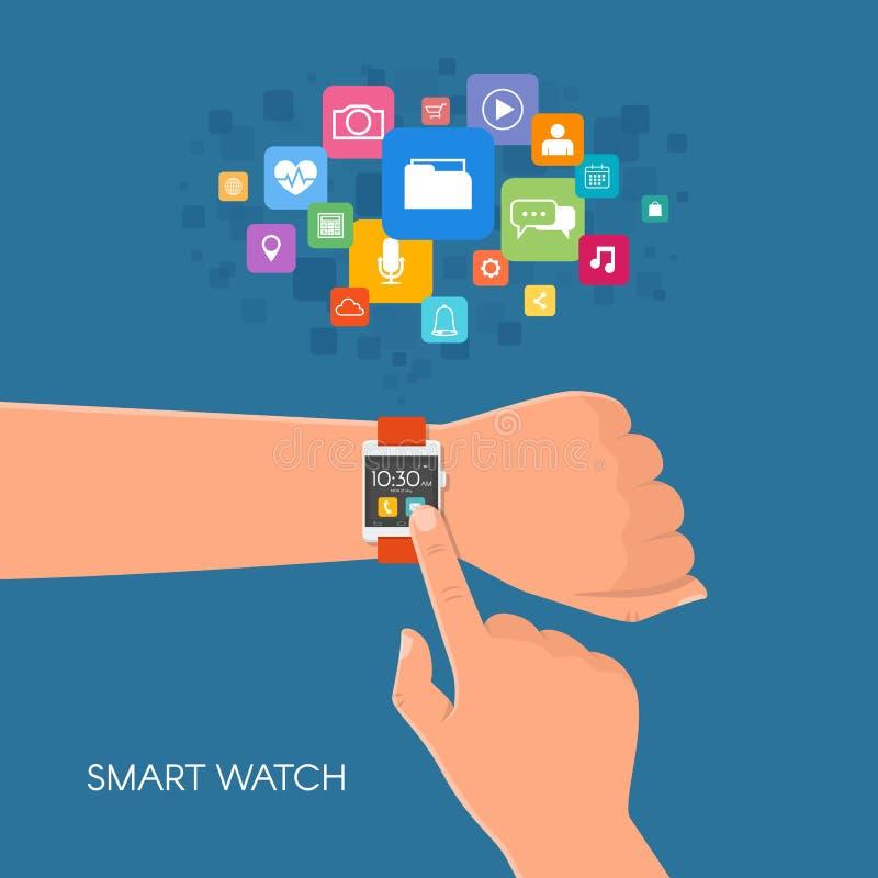 Hand met slim horloge Vectorillustratie in vlakke stijl Ontwerpelementen en app pictogrammen stock illustratie