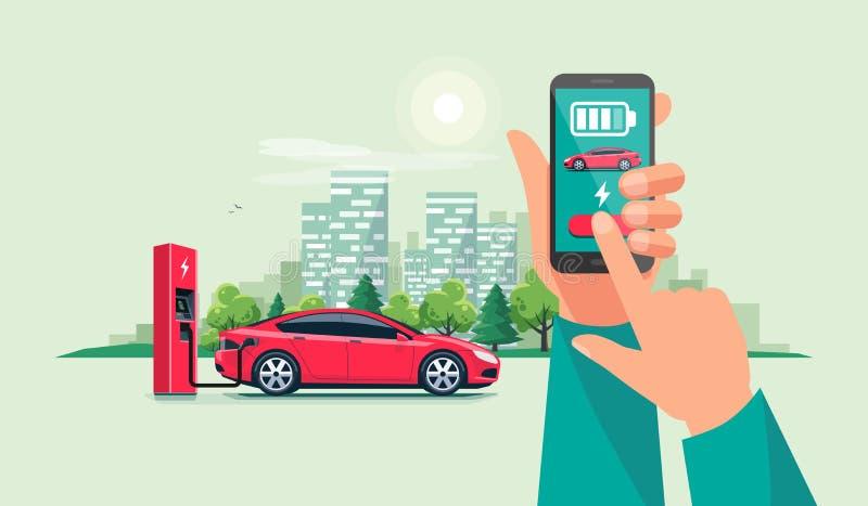 Hand met Smartphone en het Belasten App met Elektrische Auto die Batterijen aanvulling vector illustratie