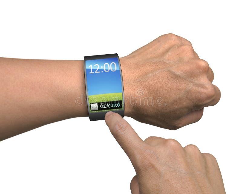 Hand met smartwatch en vinger het aanrakings kleurrijke scherm royalty-vrije stock foto