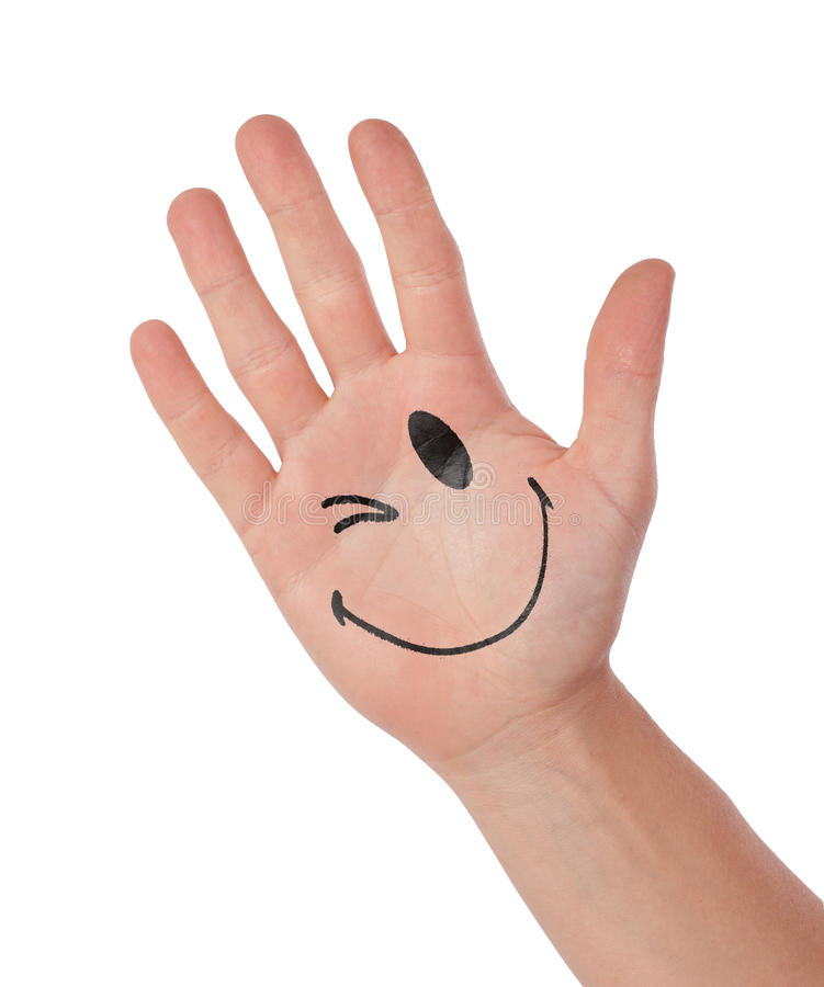 Hand met smiley op wit, concept wordt geïsoleerd mededeling die stock afbeelding