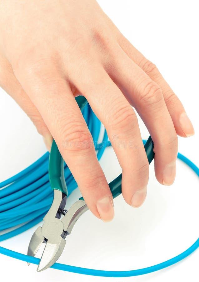 Hand met tangen en blauwe kabel op witte achtergrond, elektrotechniekconcept stock foto