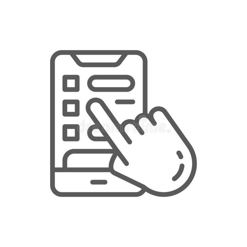 Hand met telefoon, die een de lijnpictogram boeken van de hotelruimte vector illustratie