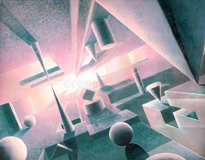 Hand met traditionele media van samenvatting van ruimte en diverse vormen en vorm wordt geschilderd die stock illustratie