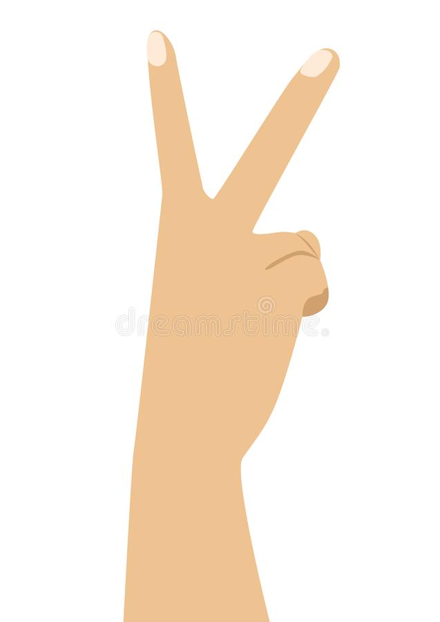 Hand met twee vingers omhoog in vrede of overwinningssymbool het teken voor V-brief in gebarentaal stock illustratie