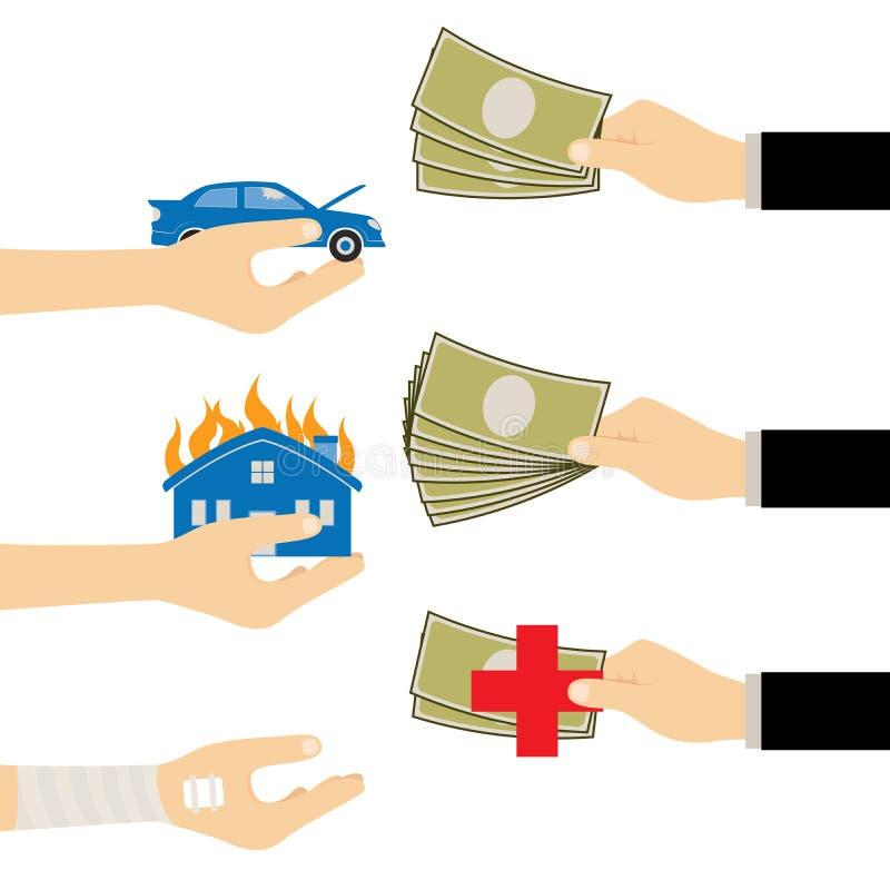 Hand met Verzekering voor het Ongevallenbezit en Voertuig van de het Levensgezondheid royalty-vrije illustratie