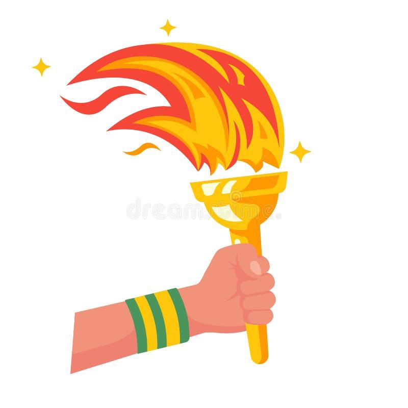 Hand met vlammende toorts De overwinning van het sportenconcept vector illustratie