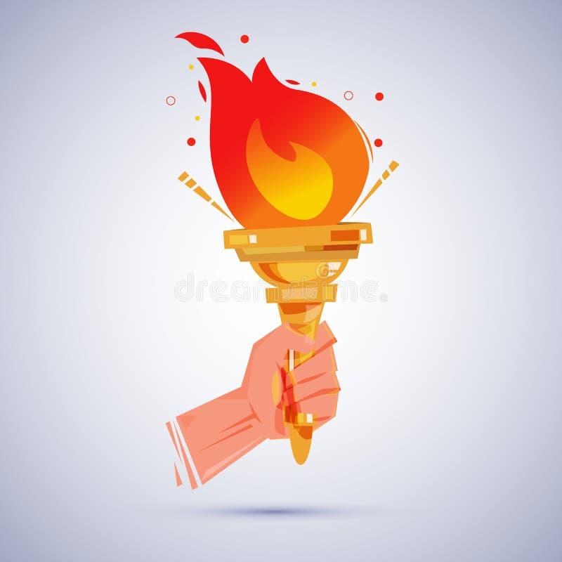 Hand met vlammende toorts overwinning en hornorconcept - vector illustratie