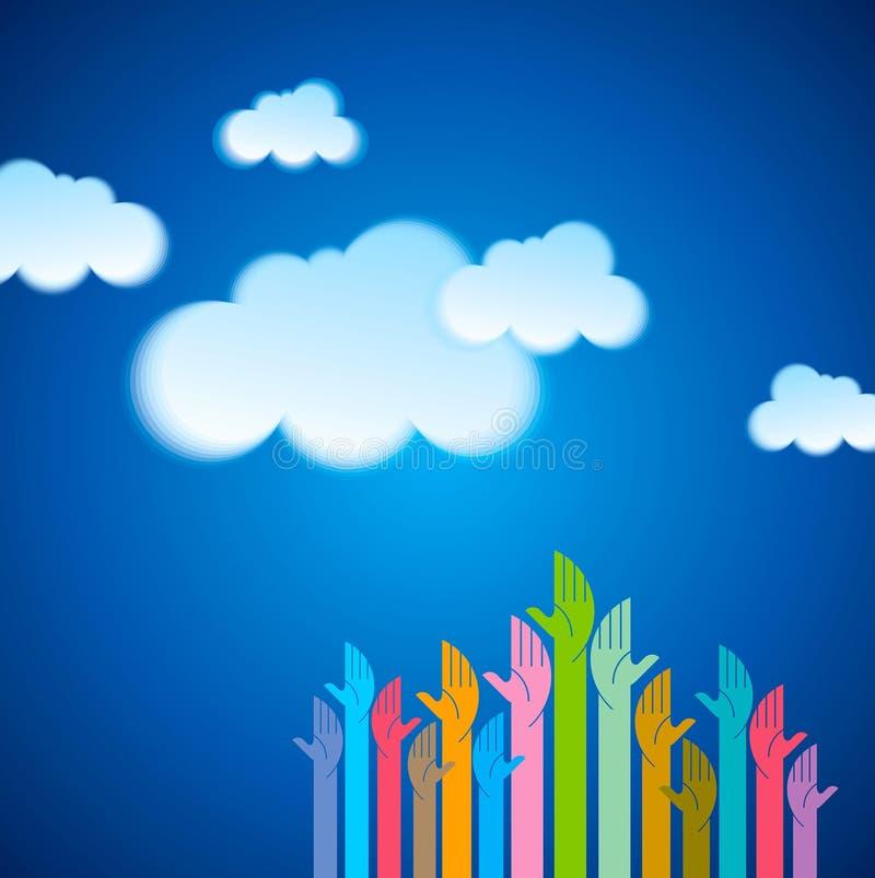Hand met wolk gegevensverwerkingssymbool tegen blauwe hemel royalty-vrije illustratie