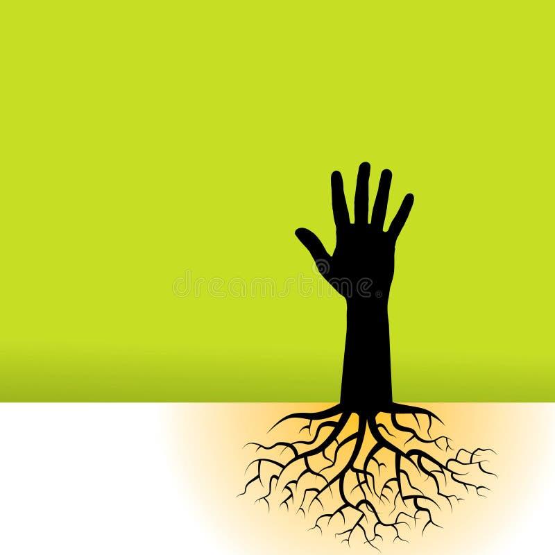 Hand met wortels royalty-vrije illustratie