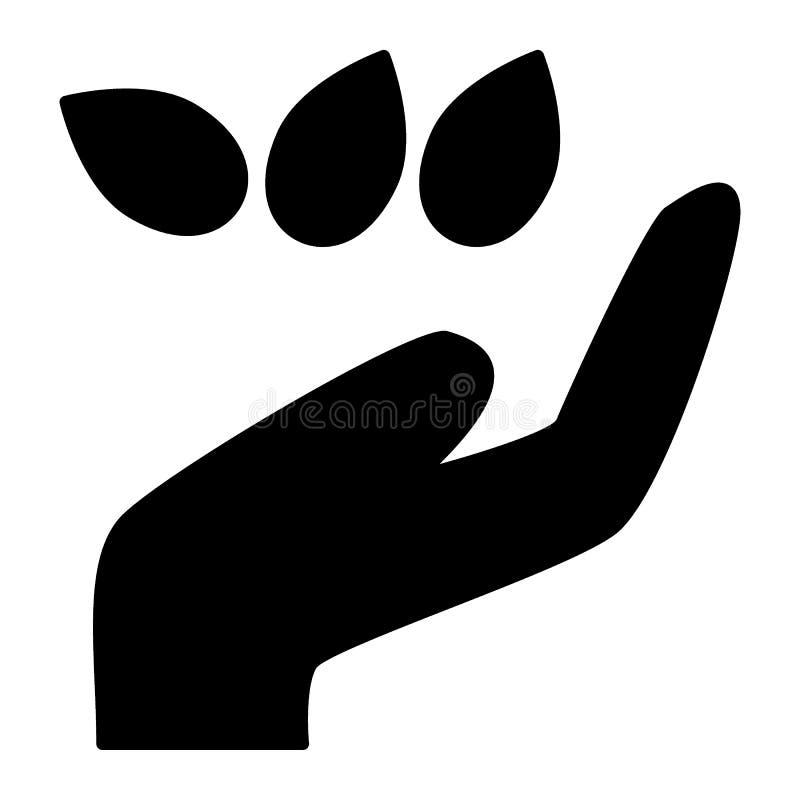 Hand met zaden stevig pictogram Korrels met hand vectordieillustratie op wit wordt geïsoleerd Het zaaien van het ontwerp van de z stock illustratie