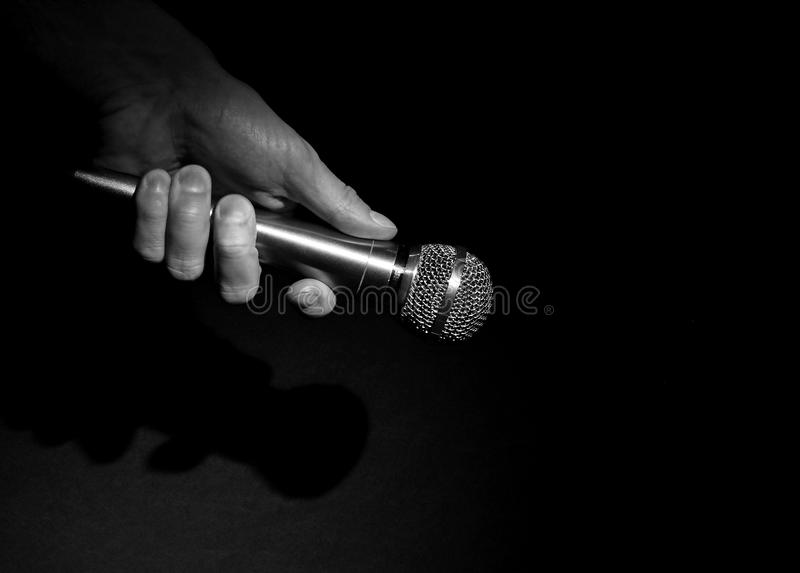 Hand on the mic royalty free stock photos