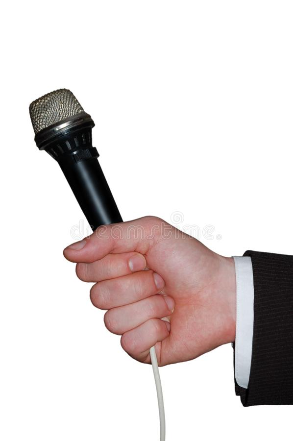 Hand with microphone royalty free stock photos