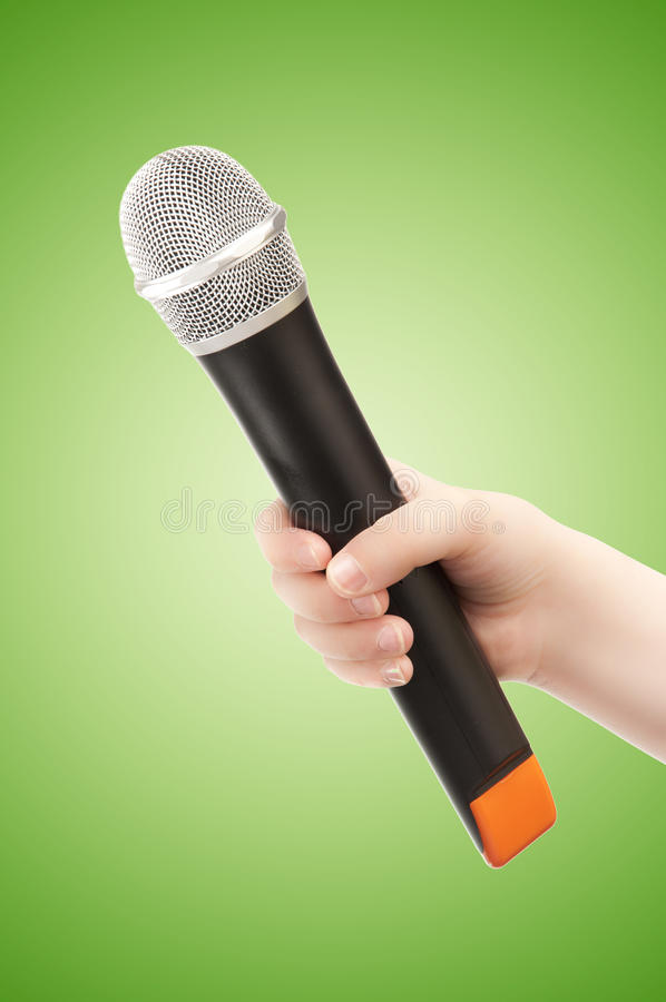 Hand with Microphone royalty free stock image