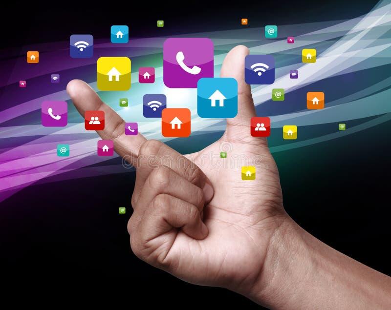 Hand mit apps lizenzfreies stockbild