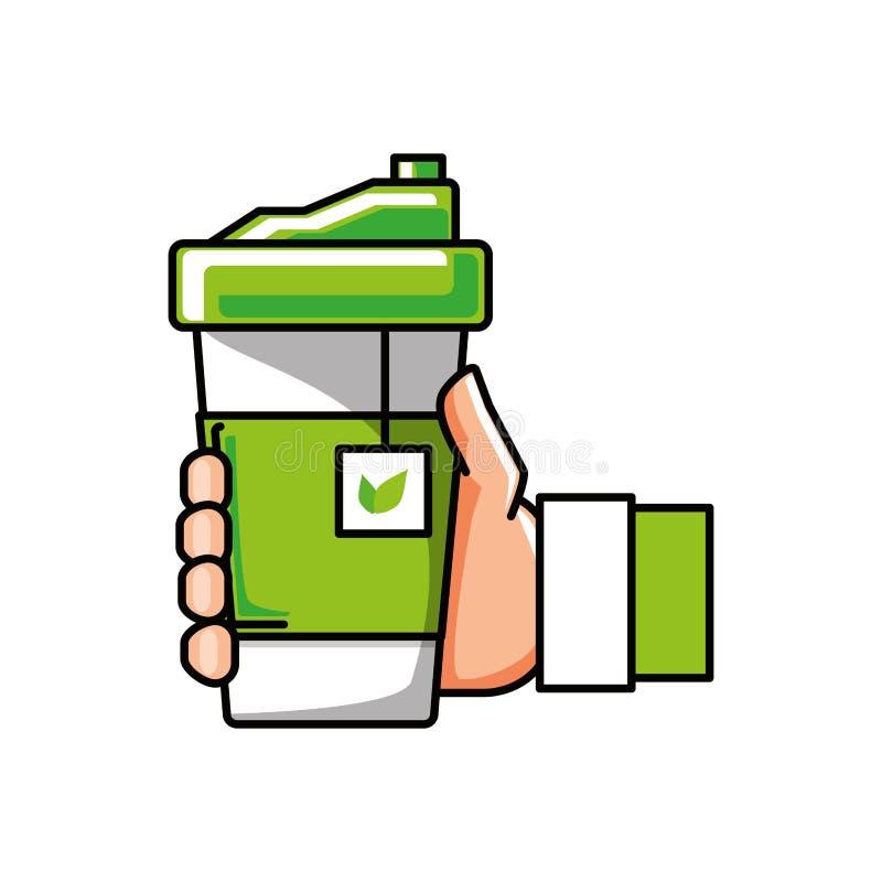 Hand mit Behälterplastik des Teekrauts lizenzfreie abbildung