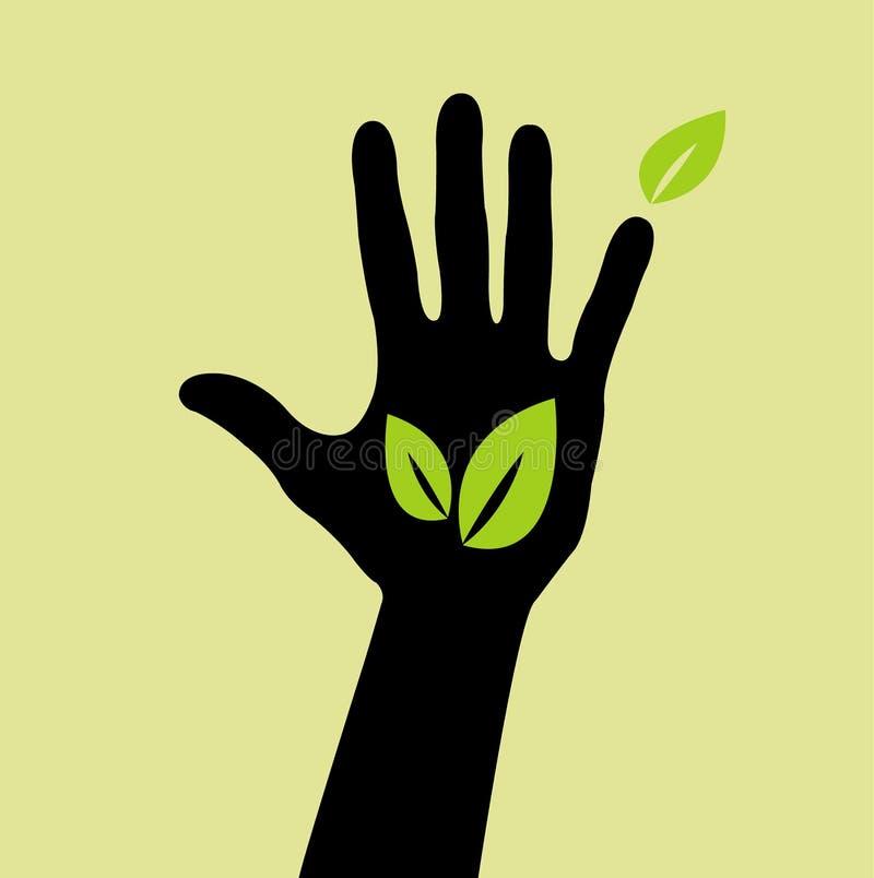 Hand mit Blattzeichen stock abbildung