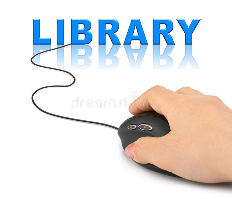 Hand mit Computermaus und Wort Bibliothek lizenzfreie stockfotos