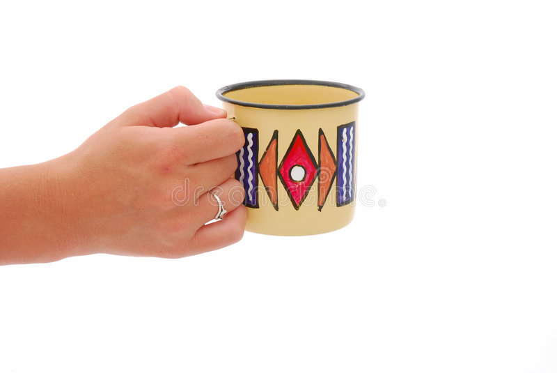 Hand mit Cup lizenzfreie stockfotos