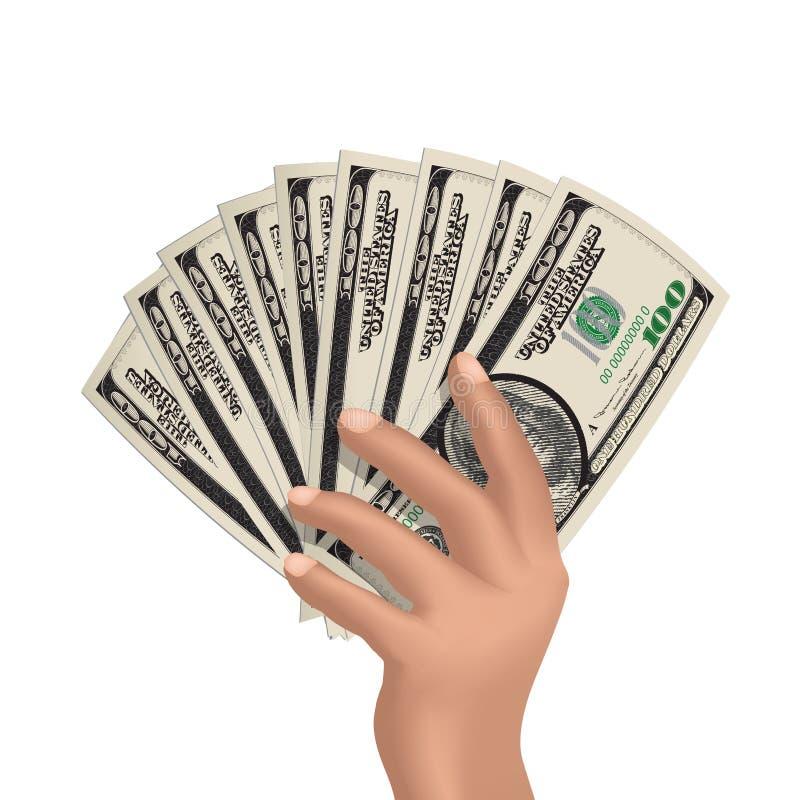 Hand mit dem dollarsHand, das amerikanische Dollar lokalisiert auf Weiß hält vektor abbildung
