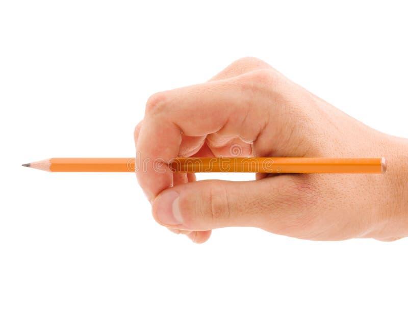 Hand mit dem gelben Bleistift lokalisiert auf weißem Hintergrund lizenzfreie stockfotografie