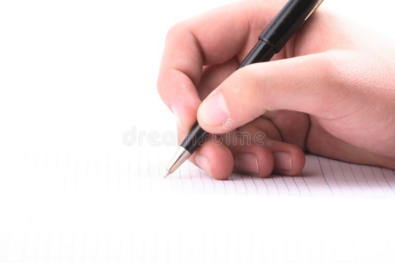 Hand mit dem Griff, tägliches Protokoll, Dokument stockfoto