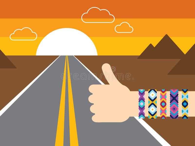 Hand mit den per Anhalter fahrenden Hippiefreundschaftsarmbändern lizenzfreie abbildung