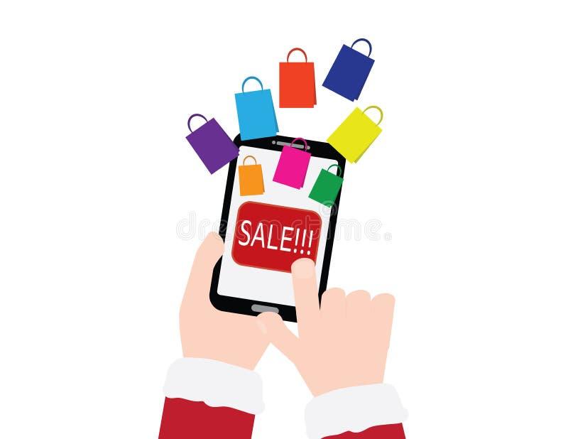 Hand mit den roten Ärmeln, die Smartphone mit VERKAUFS-Text und bunten Einkaufstaschen auf weißem Hintergrund halten stock abbildung