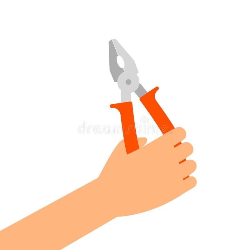Hand mit den Zangen lokalisiert auf Weiß vektor abbildung