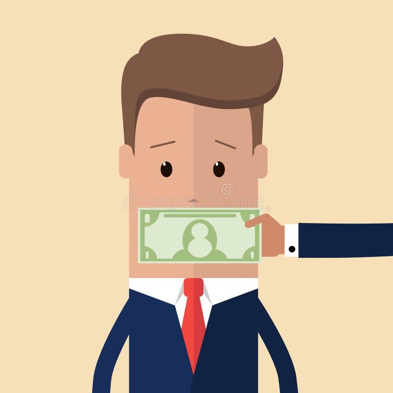 Hand mit der kaufenden Ruhe des Bargelddollarbanknotenbedeckungspolitiker- oder -geschäftsmannmunds, die ihn bittet, oben zu schl stock abbildung