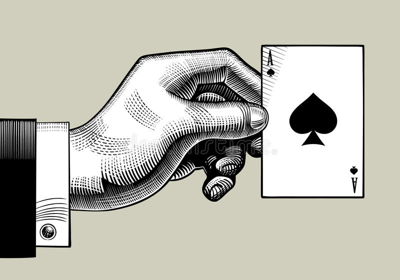 Hand mit der Spielkarte des Pikasses Weinlesestich styl lizenzfreie abbildung