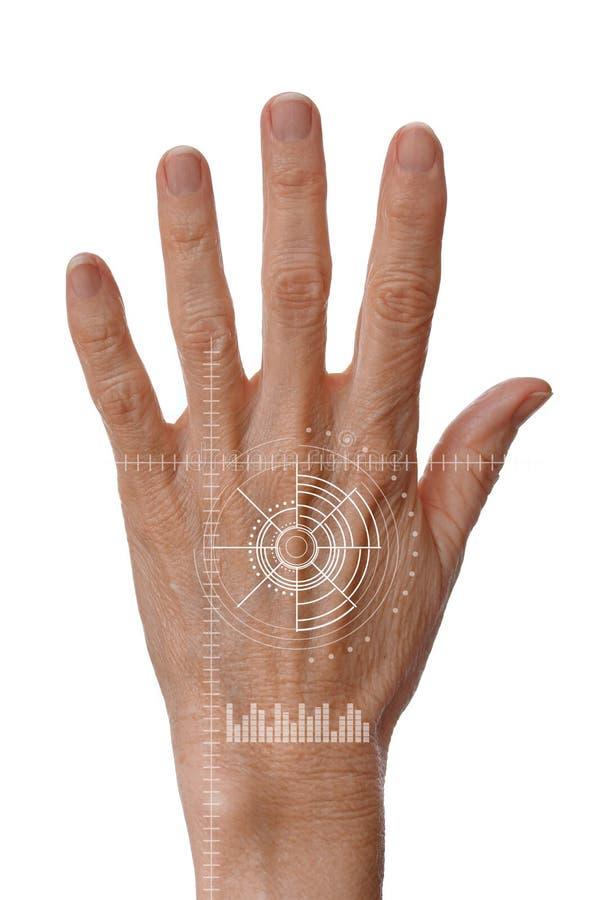 Hand mit Digital-Scan-Test für Knochen-Dichte-Gesundheit und Osteoporose-Kontrolle stockbild