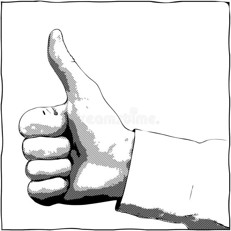 Hand mit einem Daumen herauf Geste lizenzfreie abbildung