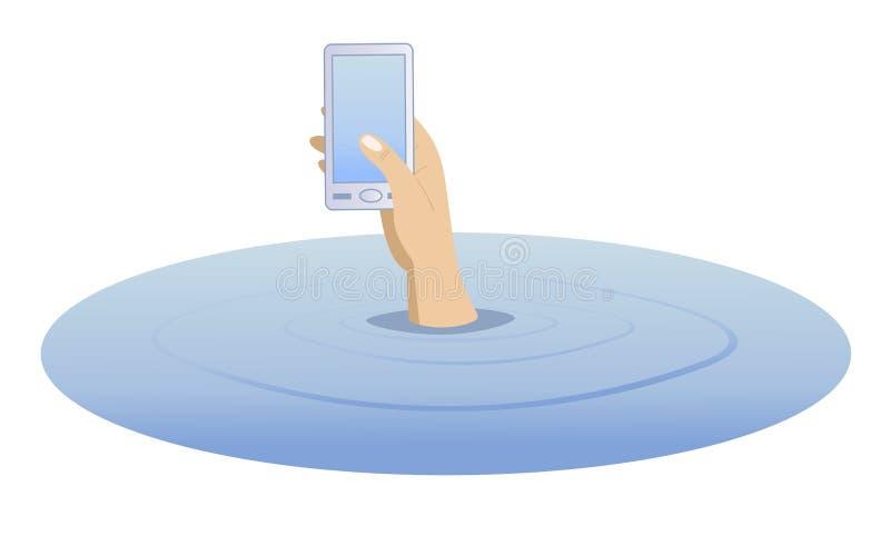 Hand mit einem Telefon, das vom Wasser steigt vektor abbildung