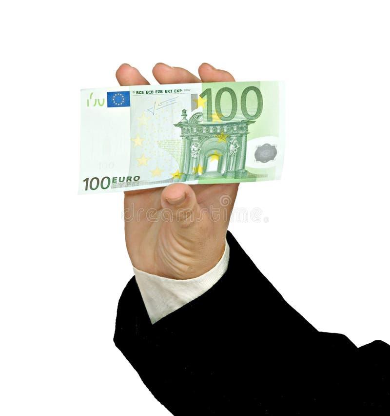 Hand mit Eurobanknote lizenzfreie stockfotos