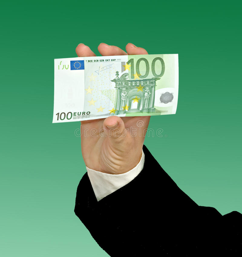 Hand mit Eurobanknote stockfotos