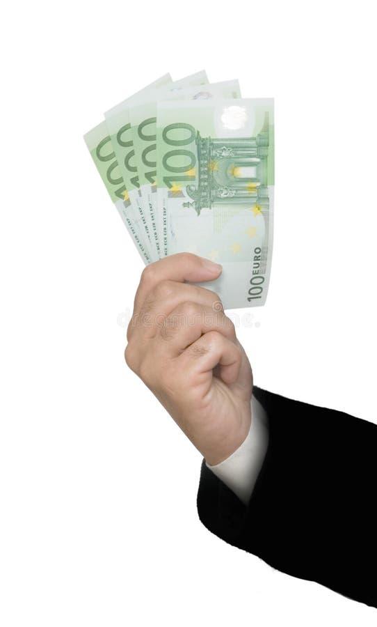 Hand mit Eurobanknoten stockfoto